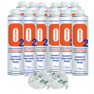 12 X O2 10 Litre Oxygen Cans 2 x Masks and Tubing