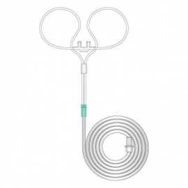 Adult curved/flared prong cannula with tube, 1.8m length 1167