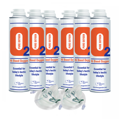 6 X O2 10 Litre Oxygen Cans Inc 2 x Masks and Tubing