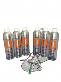 6 X O2 7.2 Litre Oxygen Cans Inc 2 x Mask and Tubing