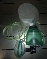BVM resuscitator, small adult/paediatric, 1L bag with pressure relief valve (40cm H20), size 4 mask