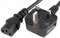 2m UK Mains Plug to IEC C13 Socket Lead, Black