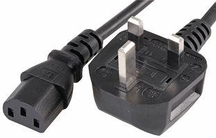 2m UK Mains Plug to IEC C13 Socket Lead, Black