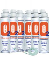 12 X O2 10 Litre Oxygen Can Inc 1 x 1.8M Tubing & Nasal Cannula
