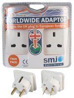 UK to Worldwide Travel Adaptor, (Twin Pack)
