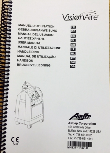 AirSep (Caire) Visionaire User Manual Hard Copy English